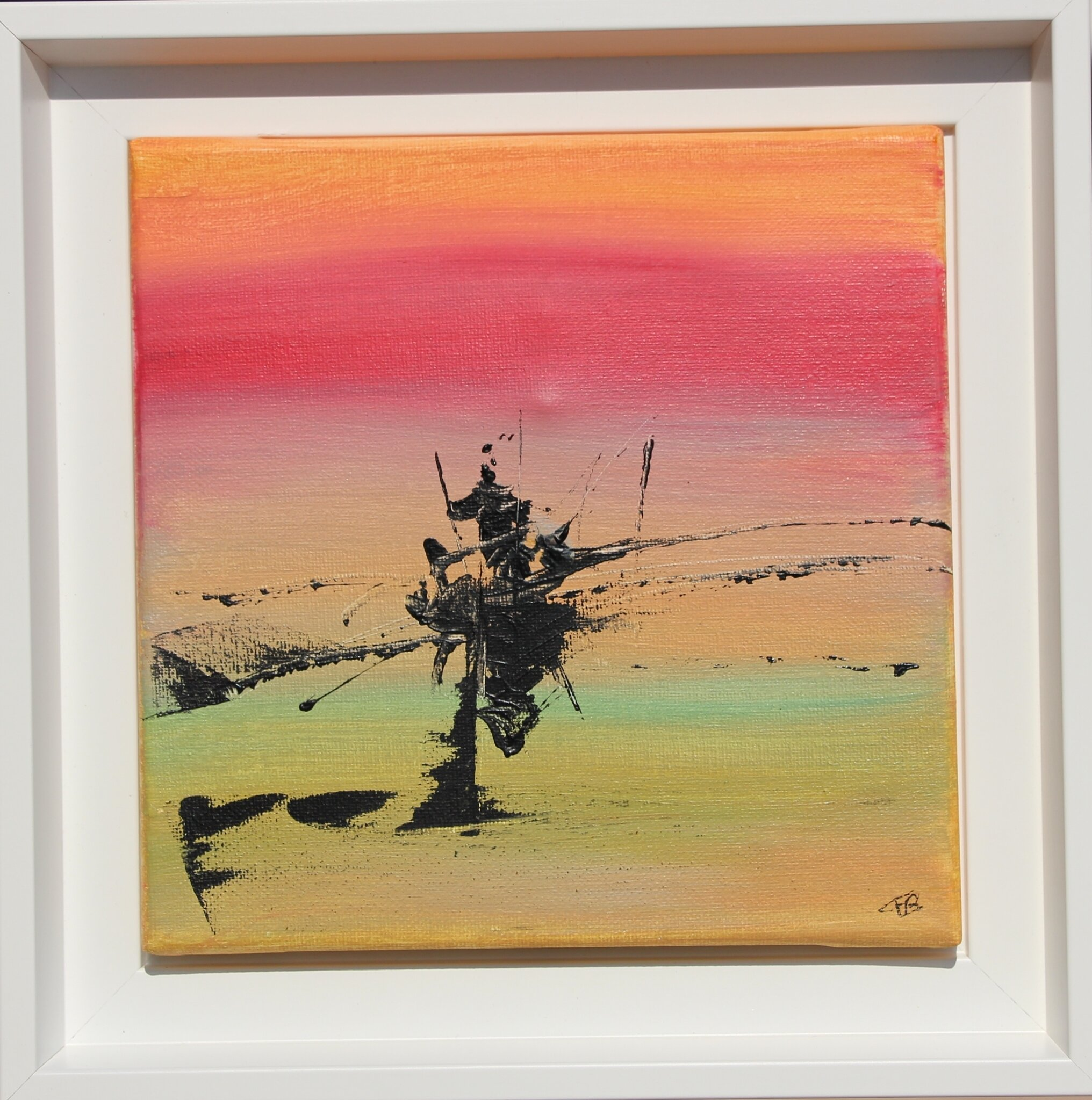 Traversée- acryl 2017- cadre blanc- 20X20 cm- (n°100)