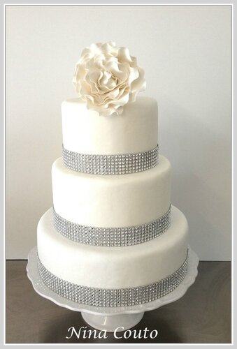 wedding cake blanc strass
