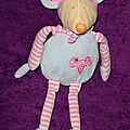 Doudou peluche souris cp international, bleu rose, www.doudoupeluche.fr