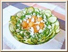 salade courgette, riz, melon, féta