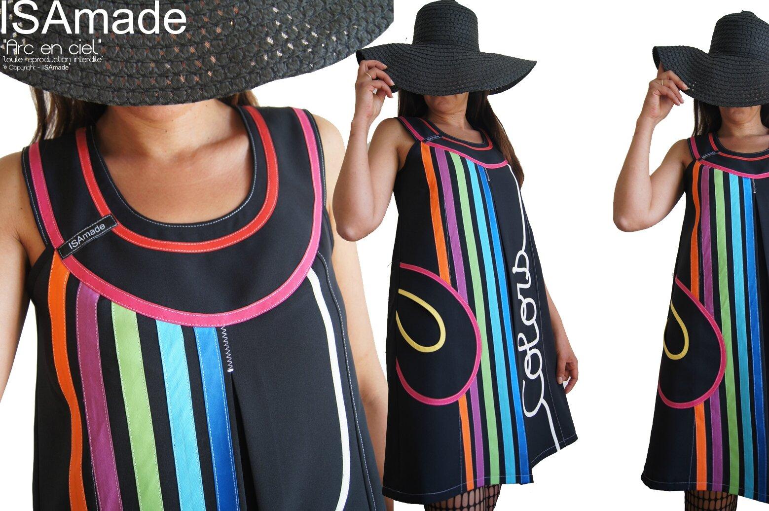Robe trapèze Chasuble Graphique Noire & Multicolore Rainbow Graphique Asymétrique d'allure Sixties