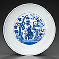 A blue and white 'three friends' dish, tongzhi six-character mark in underglaze blue and of the period (1862-1874)