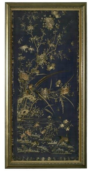 Blue embroidery with birds and floral motif