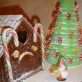 Paysage de noël en bonbons et chocolat