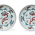 A pair of doucai'dragon' dishes, Kangxi-Yongzheng period (1662-1735)