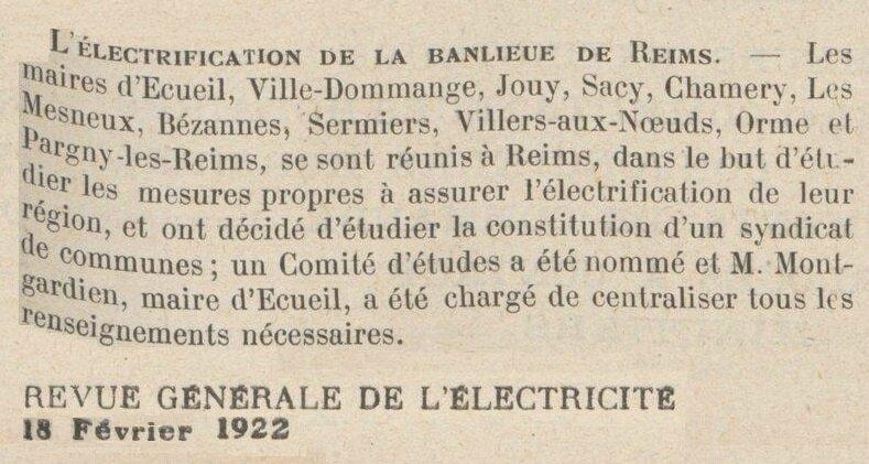 1922 ELECTRIFICATION EM
