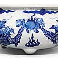 A blue and white 'dragon' censer, qing dynasty, kangxi period (1662-1722)