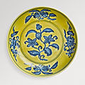 A fine underglaze-blue and yellow-enameled 'Gardenia' dish, Zhengde mark and period (1506-1521)