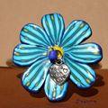 bracelet grosse fleur bleue zoom