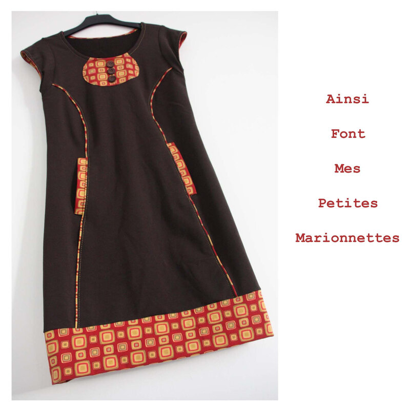 robe sweat marron rouge moutarde (4)