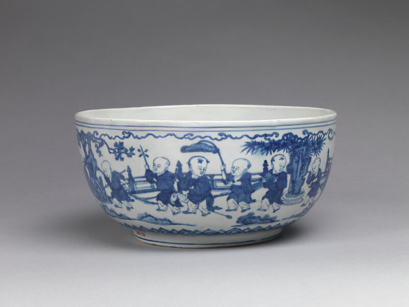 Bowl with children in a garden, Ming dynasty (1368–1644), Jiajing mark and period (1522–66), mid-16th century