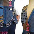 Gilet sans manches costume tailleur femme imprimé bleu marron fantaisie Jean patchwork mod 03C