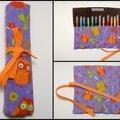 Montage Trousse violette hiboux
