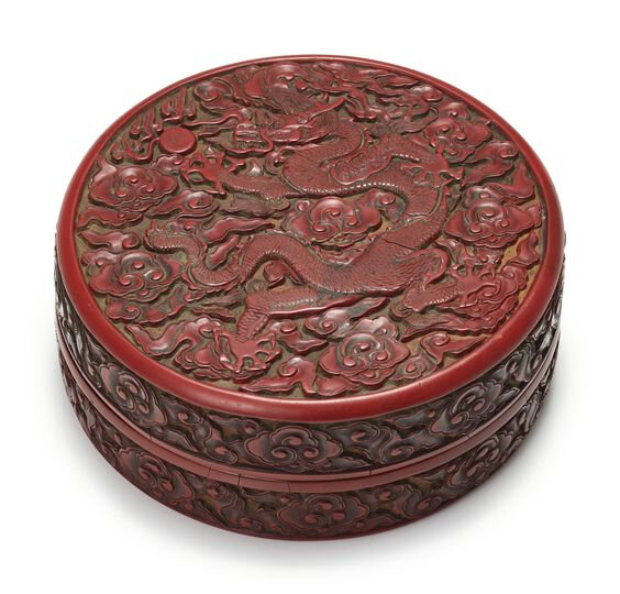 Old China Lacquer ware red carving dragon peony circular Jewelry box