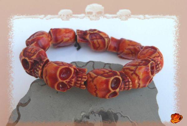 Bracelet Perles Os de Yak Tête de Mort Couleur Marbré Marron Elastique Unisexe