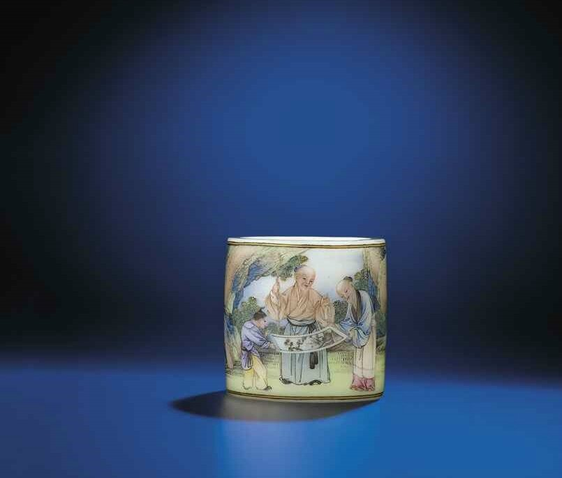 A magnificent imperial falangcai enamelled glass brush pot, Qianlong incised four-character mark within double-squares and of the period (1736-1795)