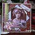 Carte vintage - fillette au bouquet de lilas ...
