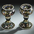 Master i. c., french, limoges, circa 1600-1610, pair of salt cellars with the profiles of a nobleman and a lady