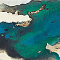 Zhang daqian (chang dai-chien) 1899-1983, bridge to mountain temple shrouded by prismatic clouds in splashed color, 1981