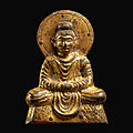 A rare early gandharan-style gilt-bronze votive figure of shakyamuni buddha, sixteen kingdoms, 4th – early 5th century
