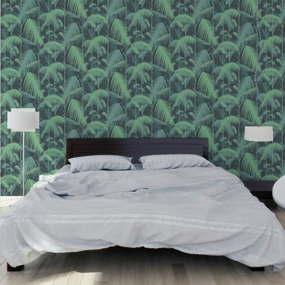 4-papier-peint-tropical-noir-vert-palm-jungle