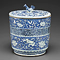 A rare blue and white water jar and cover, mizusashi, 17th century