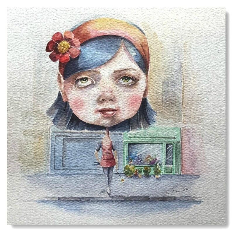 ILLUSTRATION aquarelle petite fille poupée femme valerie albertosi