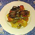 Canard rôti aux tomates et citrons confits avec pommes de terre et olives