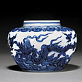 A very rare blue and white 'winged dragon' jar, mark and period of chenghua (1465-1487)