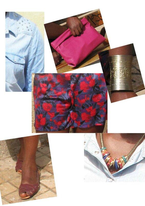 pochette rose zara short primark ballerines primark collier primark manchette bijoux brigitte chemise jean C&A afo bun copie