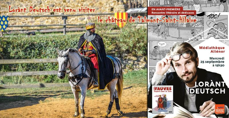 Lorànt Deutsch est venu visiter le château de Richard Coeur de Lion à Talmont-Saint-Hilaire