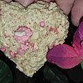 Cookies coeurs aux flocons d'avoine, chocolat blanc et pralines rose
