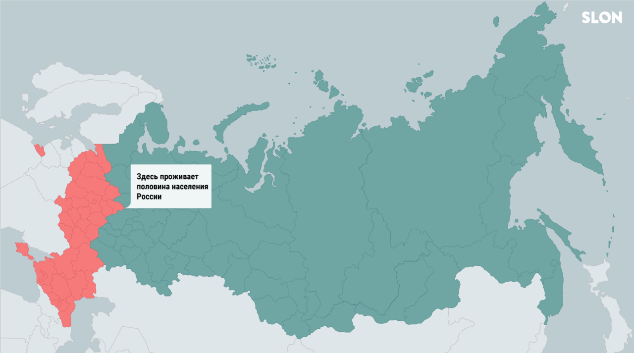 Half of Russia's 144mln population lives in the red part