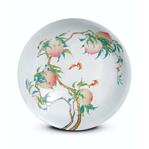 Fencai porcelain dish with fruiting and flowering peach branches, Mark and period of Yongzheng, Sotheby's Hong Kong, 29 April 1997, lot 400