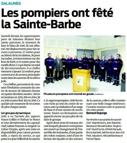 2017 01 27 SO Salaunes les pompiers ont fêté la Sainte-Barbe
