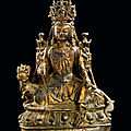A gilt-lacquered bronze figure of simhanadalokeshvara, ming dynasty, 17th century