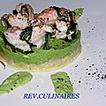 langoustines marinées à la menthe, crème de petits pois, réglisse mentholée