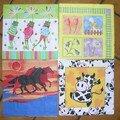 4 serviettes bestioles en tous genres