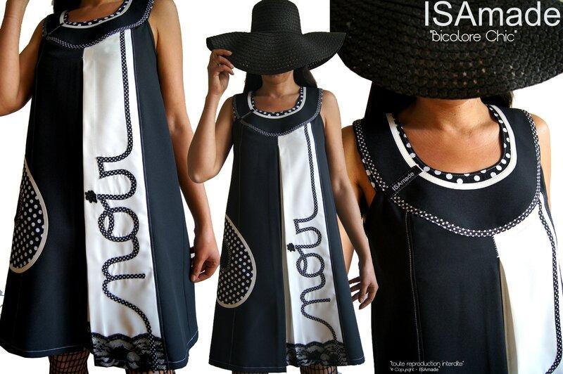 MOD 383A Robe créateur Trapèze chasuble Couture Chic Noir écru à pois mode made in France