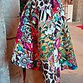 Veste VICTORINE en toile de coton imprimée zèbre-léopard-rose-violet - Doublure de satin noire (5)