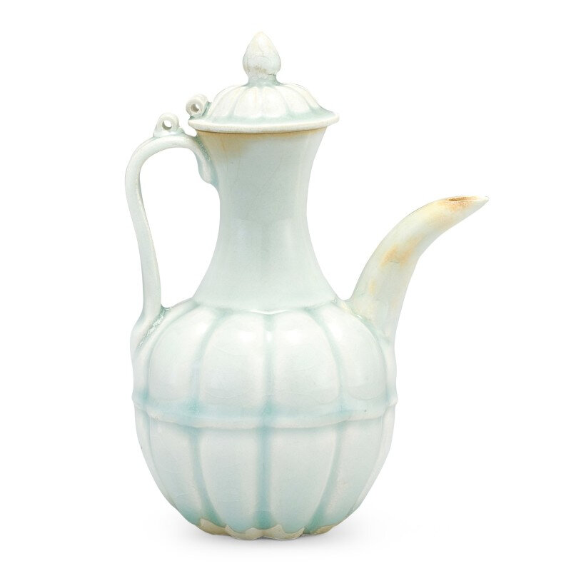 A Qingbai lobed ewer and cover, Song Dynasty (960-1279)