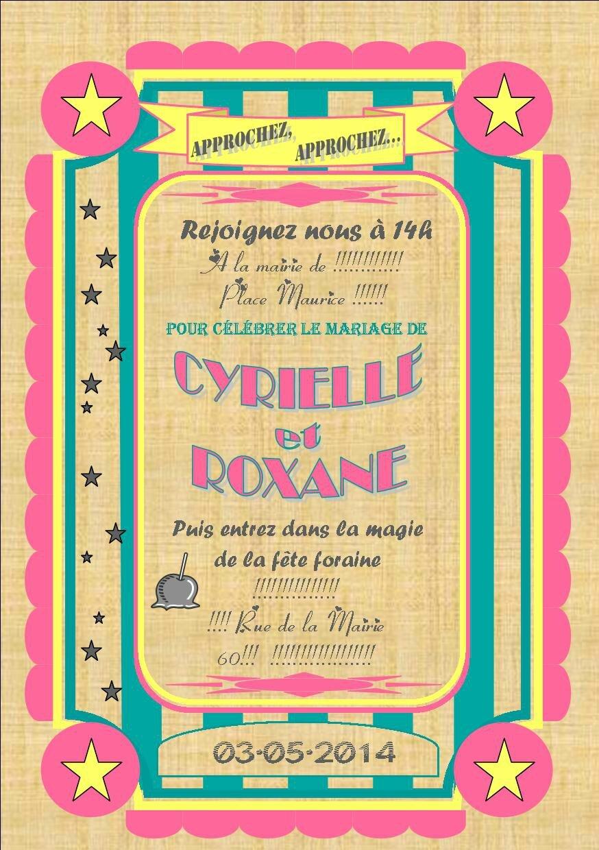 Faire Part Et Coupon Reponse Mariage Fete Foraine 2014