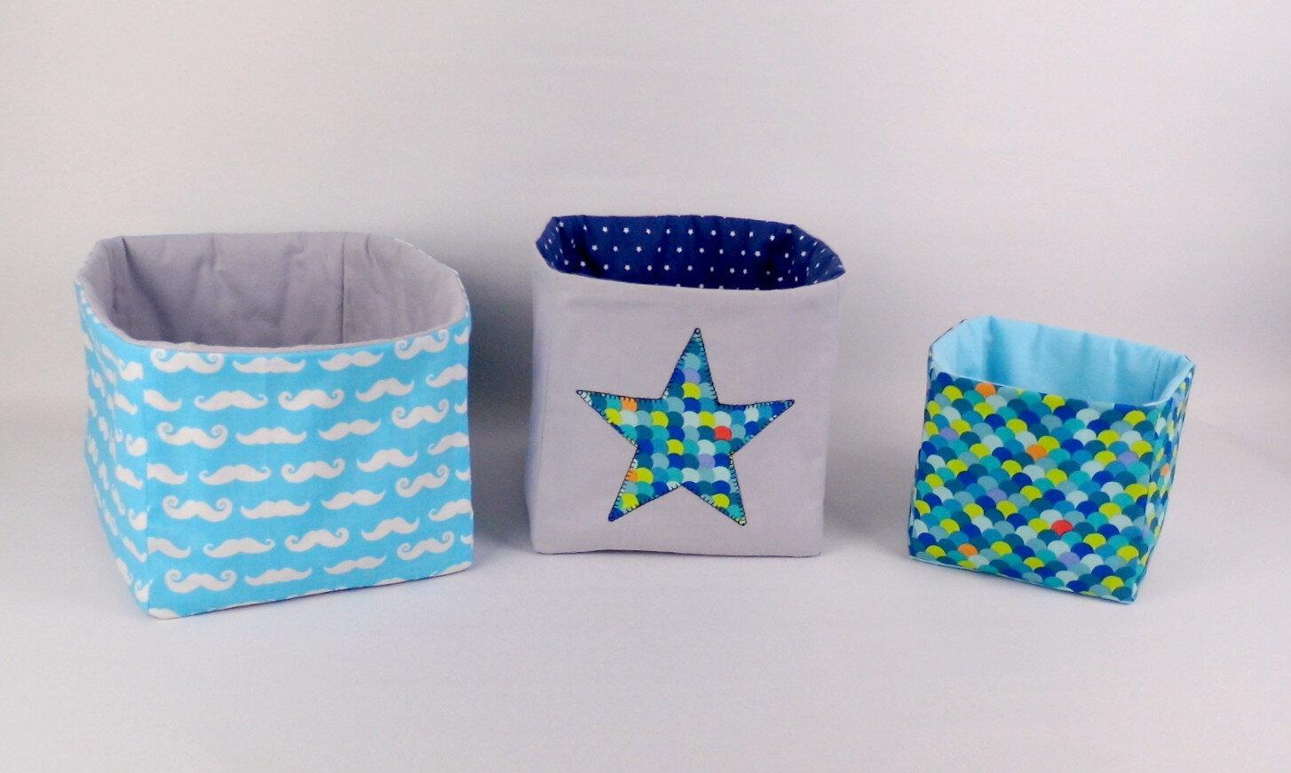 Corbeilles en tissu personnalisées chambre bébé corbeille à couches table à langer décoration enfant gris bleu marine turquoise vert anis amanite rose
