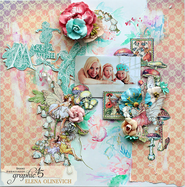 Happy and Fun Layout , Fairie Dust,by Elena Olinevich, product by Graphic45, photo1