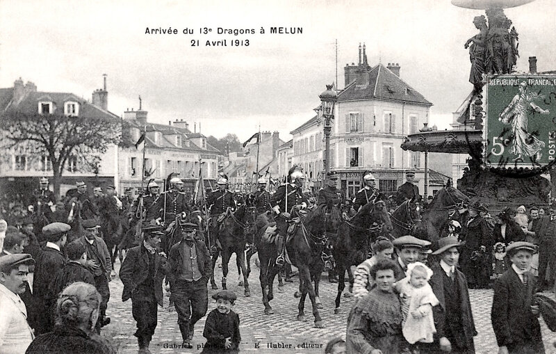 13e Dragons à Melun, 13 avril 1913