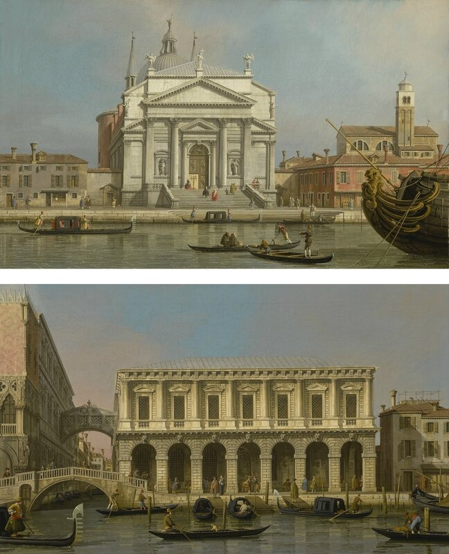 Giovanni Antonio Canal, called Canaletto, Venice, the Churches of the Redentore and San Giacomo; Venice, the Prisons and the Bridge of Sighs, Looking Northwest from the Balcony