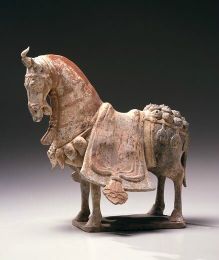 An Early Chinese Painted Pottery Figure of a Horse, China, Six Dynasties period, Eastern Wei Dynasty (534-550)