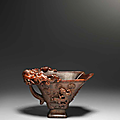 A finely carved rhinoceros horn 'chilong' libation cup, 17th century