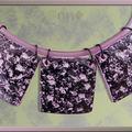 Collier 3 lentilles carrées rose et noir sur buna cord