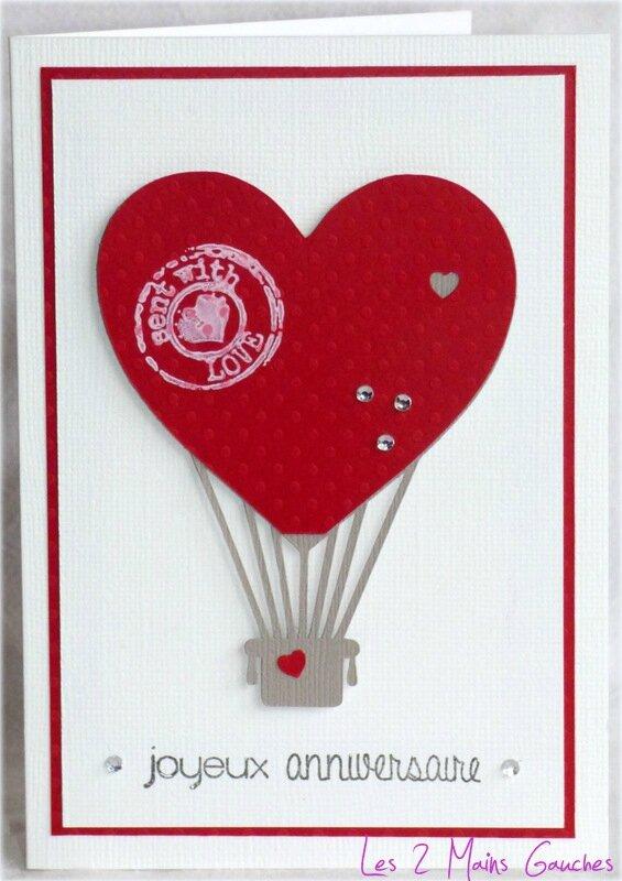 carte d'anniversaire avec montgolfiere rouge